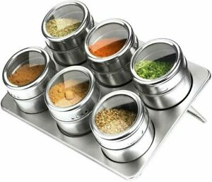 6 Pc Magnetic Herb Spice Kitchen Rack Tin Jar With Holder Stand Stainless Steel