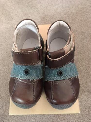 IKKS Brice Chicos de Cuero Zapatos De Tela Marrón Ribete Azul