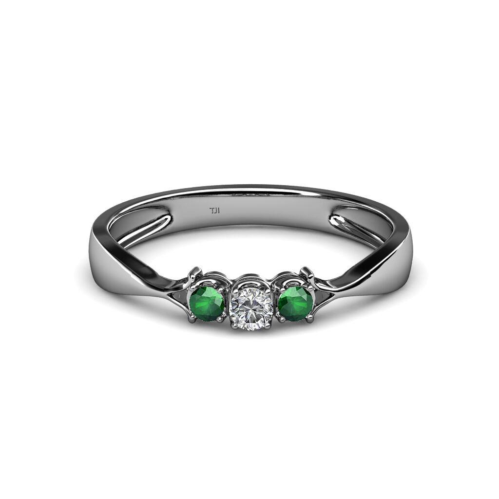 Diamond Emerald Womens Three Stone Engagement Ring 0.13 ct 14K gold JP 34610
