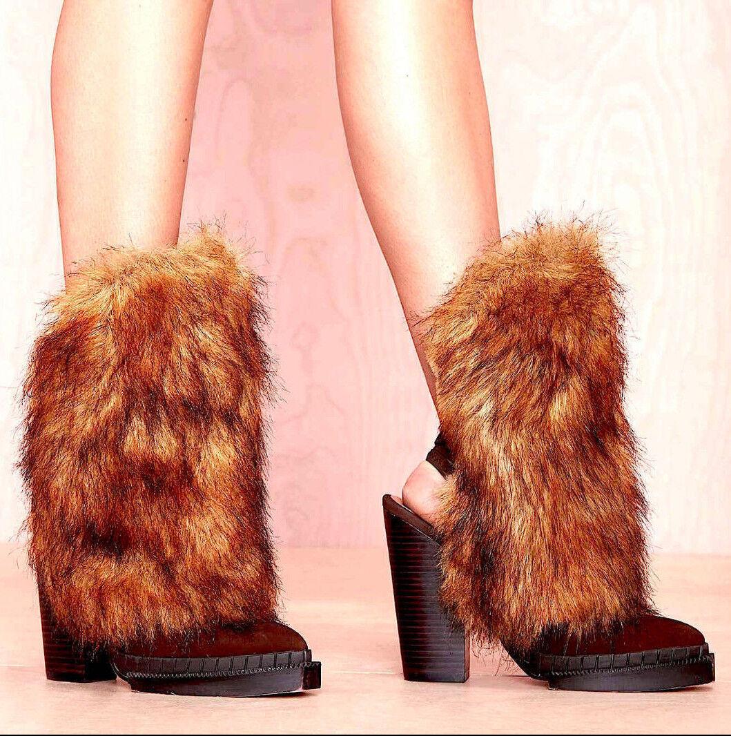 NEW NIB 242 JEFFREY CAMPBELL BROWN SHAGGY FAUX FUR OLEG BOOTIE Schuhe BOOTS 5 35