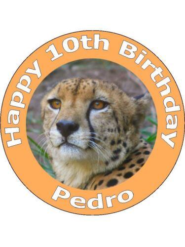 Safari personnalisé Guépard animal gâteau d/'anniversaire cupcake toppers sur papier de riz