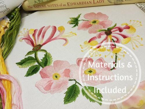 Kit de bordado Kits de bordado tradicional de Maggie Gee Hedgerow Madreselva