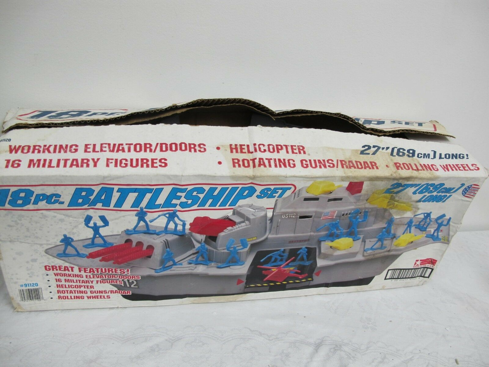 AMERICAN PLASTIC TOY VINTAGE MILITARY BATTLESHIP WITH FIGURES & ACCESSORIES BOX