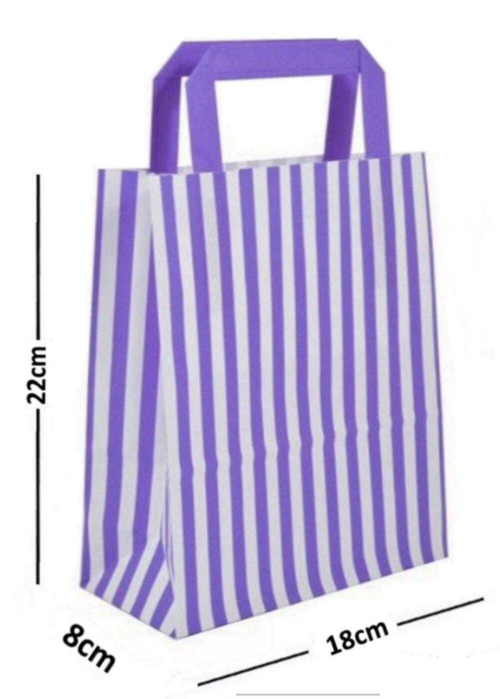 Violet Candy Stripe Plat Poignée Sacs ~ Fête Sac D'Anniversaire Papier Sac Fête Cadeau d10d78