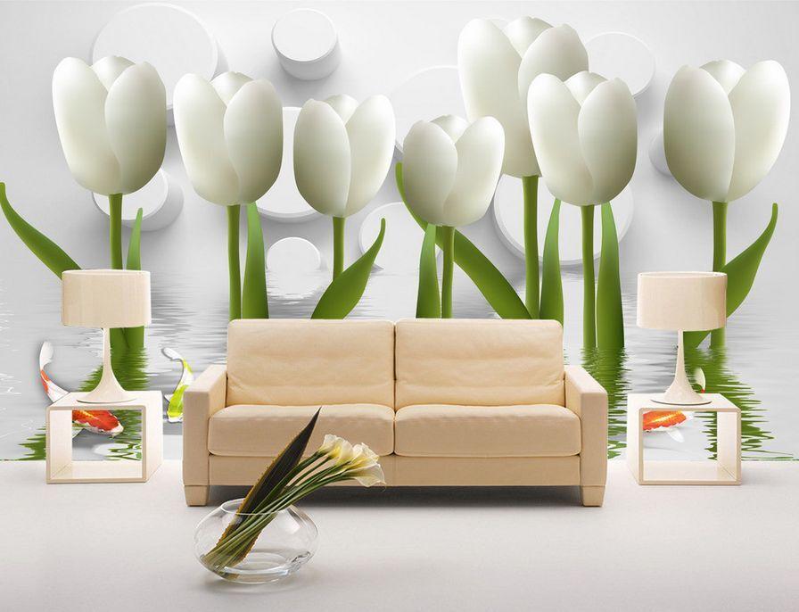 3D Wasser edle Weiße tulpen 8 Fototapeten Wandbild Fototapete BildTapete Familie