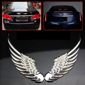 3d Silver Angel Wings Car Window Bumper Body Badge Sticker Decal