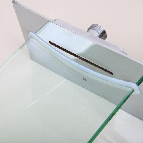 Glass Brass Wall Mounted Bathtub Waterfall Faucet Bathroom Basin Sink Mixer Taps