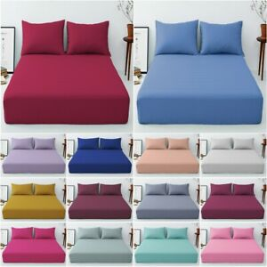 """Cotton All Colours Sizes Percale 25 cm//10/"""" Box Fitted Sheets Single,Double,King"""