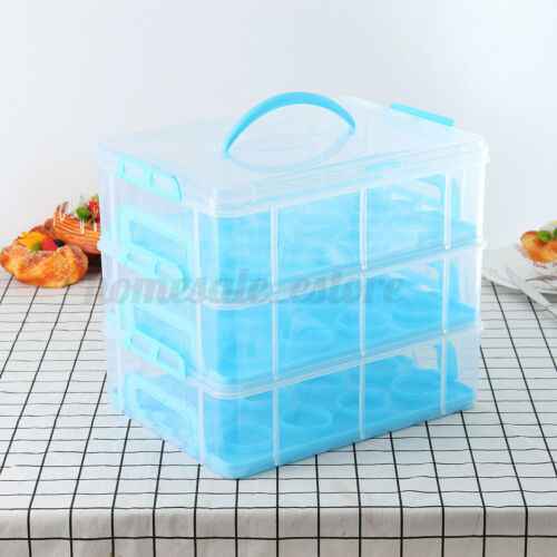 3 Tier Clear Locking 36 Cupcake Holder Caddy Carrier Tray Container Storage