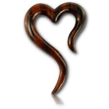 PAIR OF 6G (4MM) LONG HEART ORNATE SONO WOOD SPIRALS STRETCHERS PLUGS EAR