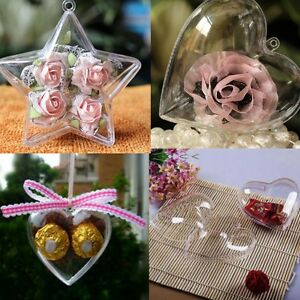5Pcs-Clear-Plastic-Fillable-Heart-Ball-Bauble-Candy-Box-Xmas-Ornament-Decor-UT