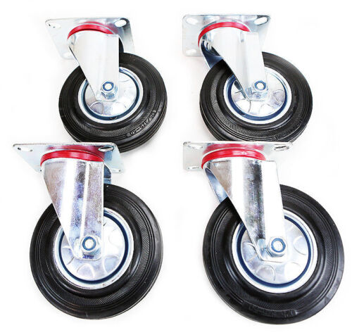 """4 pack 5/"""" Swivel Caster Wheels Rubber Base with Top Plate /& Bearing Heavy Duty"""