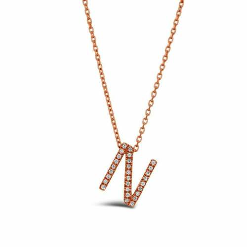 Details about  /0.04 Ct Diamond Pendant Necklace Alphabet N Shaped Monogram Jewelry 9K Rose Gold