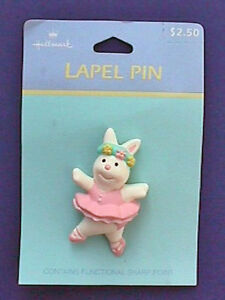 Hallmark-PIN-Easter-Vintage-BUNNY-BALLERINA-Rabbit-Ballet-TUTU-PINK-Holiday-NEW