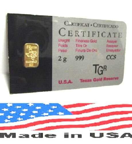 2 GRAM GOLD BAR 24K TGR BULLION 999.9 FINE NORTH AMERICAN ASSAY LTD QUANTITIES !