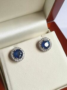 9cd9a94db 9ct White Gold, 1.2ct Sapphire 0.15ct Diamond Round Stud Earrings ...