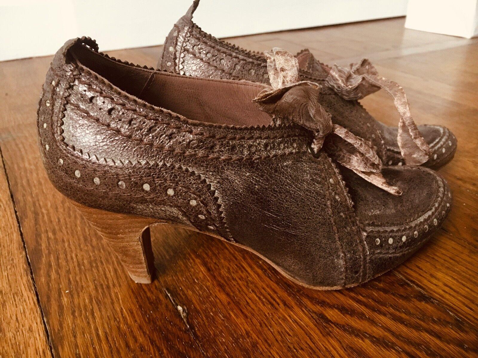 BNIB Jigsaw Jigsaw Jigsaw shoes Brown leather metallic Size 3 36 Brand New In Box f824bc