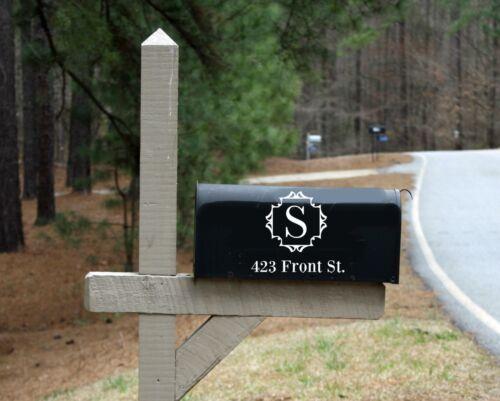 Mailbox Initial Monogram And Address Vinyl Decal