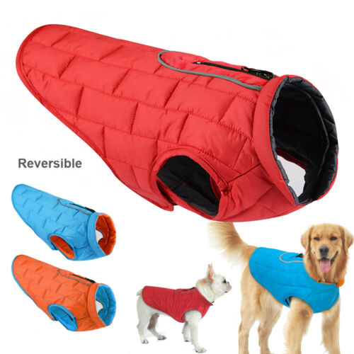 Reversible Waterproof Winter Coats for Dogs Labrador Clothes Reflective Jacket