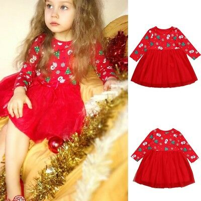 Toddler Baby Girl Long Sleeve Cartoon Print Dress Christmas Princess Party Cloth