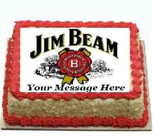 Jim Beam Bourbon Cake topper edible image icing Real Fondant Sheet