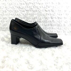 Women-s-Franco-Sarto-Black-Leather-Ankle-Boots-Block-Heel-Size-5-5M