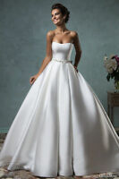 New satin White/Ivory Bridal Gown Wedding Dress Custom Size 4-6-8-10-12-14-16-18