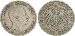 Prussia-5-Mark-Silver-Coin-1895-a-Ss-Small-Margin-Error