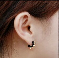 Gothic, Rock, Punk Hoop Black Spiked Earrings