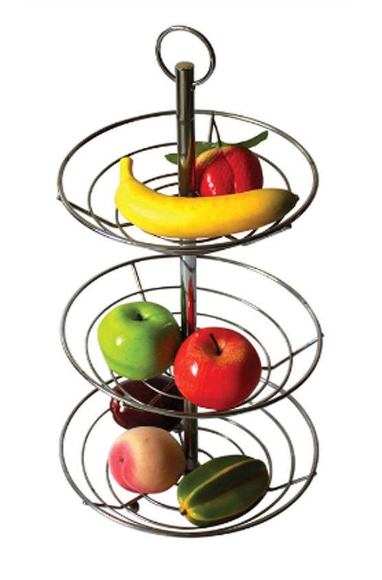 Tazón de fuente de 3 pisos de doble cesta de frutas de alambres soporte de almacenamiento de información titular de la Unidad de Cocina