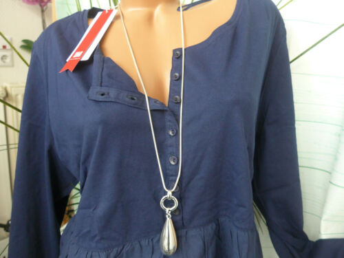 Sheego Tunique chemisier long shirt taille 44//46 à 48//50 boutonnage bleu nouveau 529
