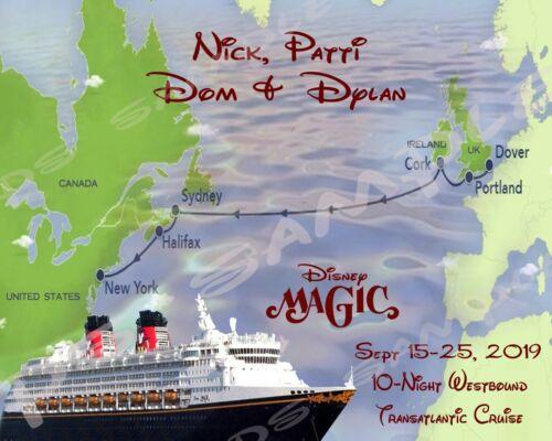 MAP WITH PORTS 8X10 Disney Cruise Door Magnet TRANSATLANTIC WESTBOUND