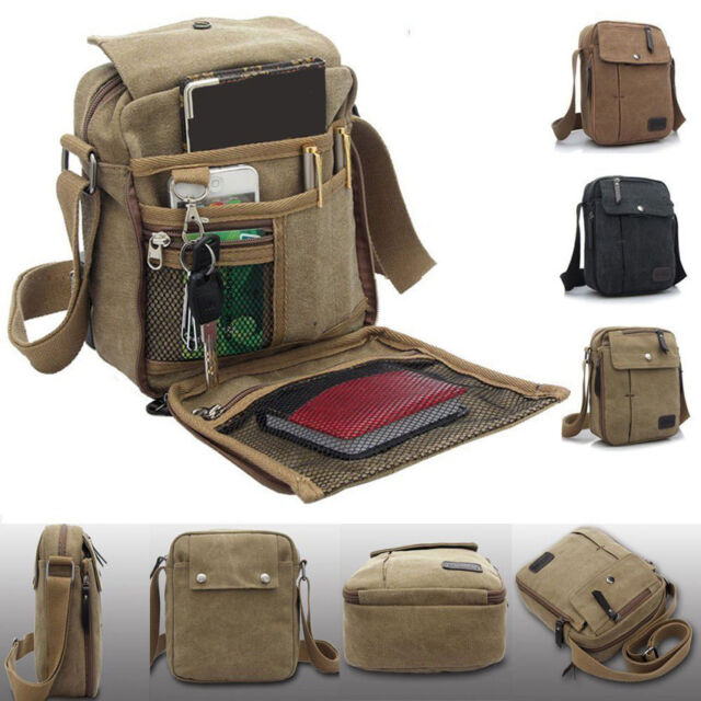 Mens Canvas Shoulder Messenger Bag Retro Military Travel Satchel Crossbody New