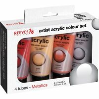 4 x 75ml Reeves Metallic Acrylic Art Paints Tubes Gold Silver Bronze Artist