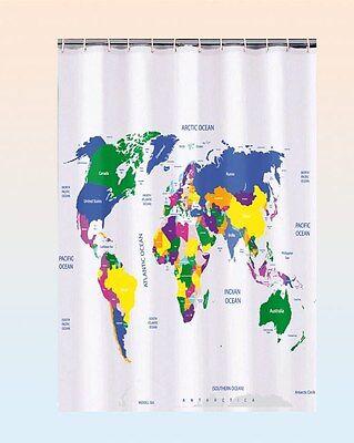 Duschvorhang Weltkarte 180x180 cm Karte Atlas Earth Badvorhang Dusche Vorhang