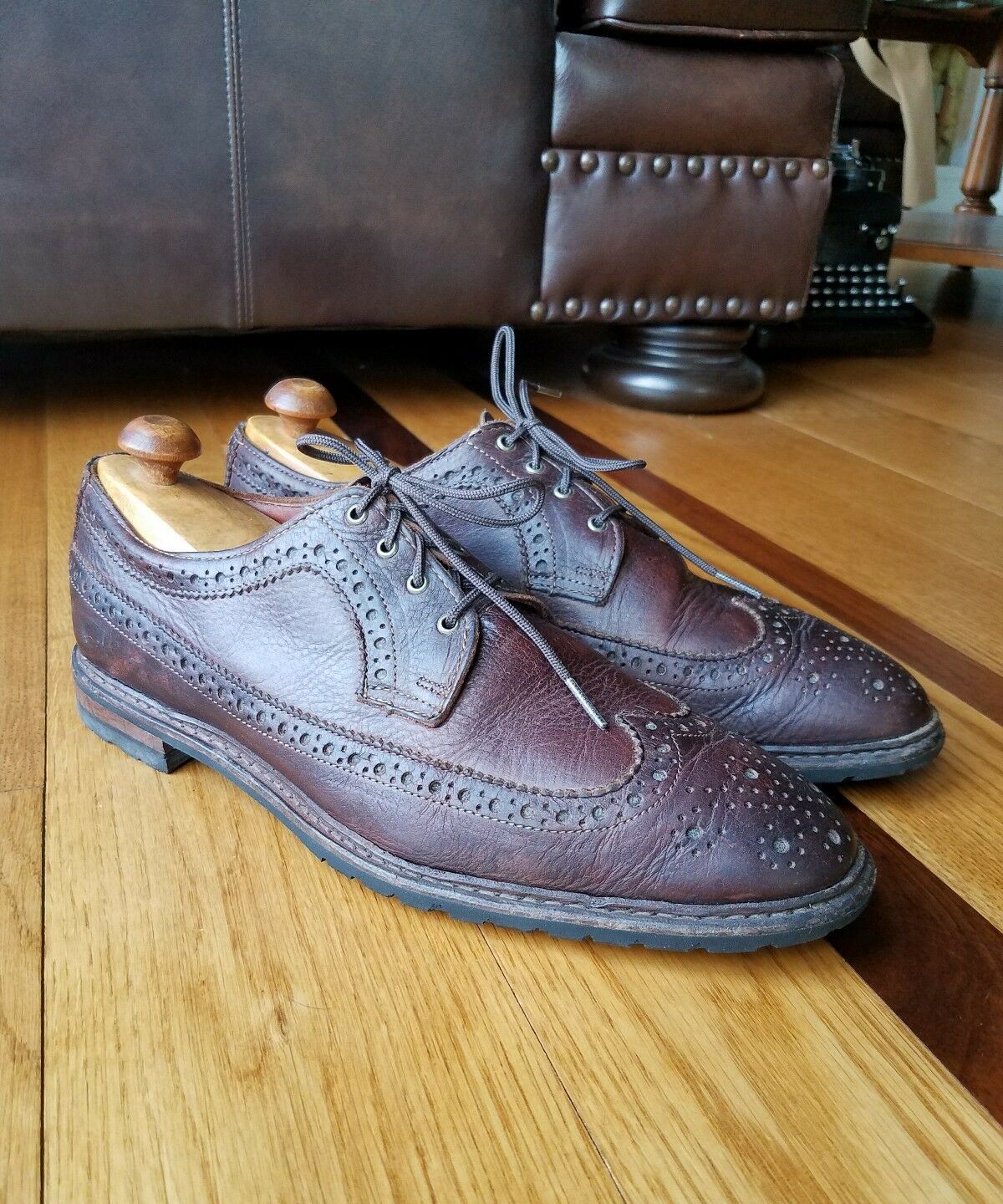 BROOKS BrougeHERS marron CUIR épais Bout D'Aile Robe derbies chaussures 11 D Made in USA