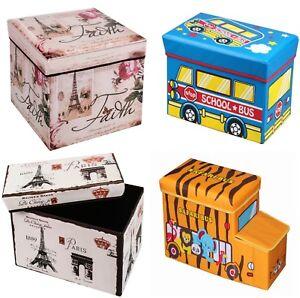 Sitzhocker-Sitzwuerfel-Aufbewahrungsbox-faltbar-Hocker-Truhe-Kiste-Kinderzimmer
