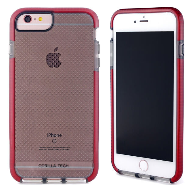 size 40 e43c4 1ea27 for iPhone Gorilla Tech Mesh Slim Flex Shockproof Case Thin Protective  Cover Apple iPhone 7 Plus Red