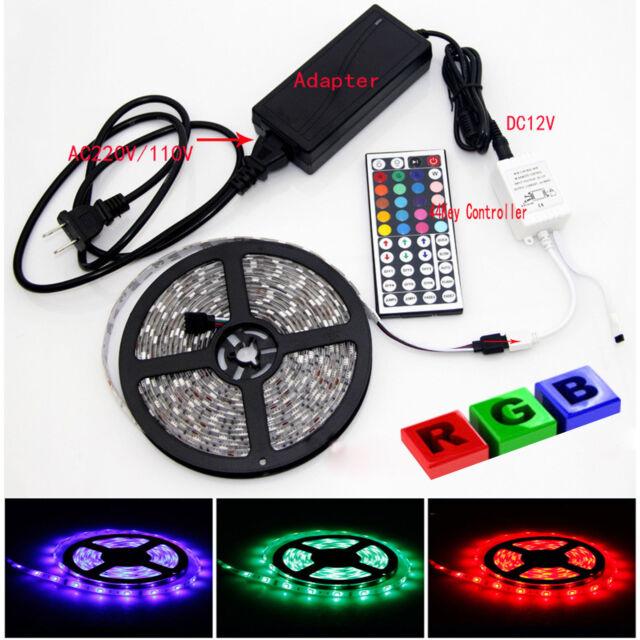 5M RGB 5050 Waterproof LED Strip light 300 SMD 44 Key Remote 12V Supply Power US