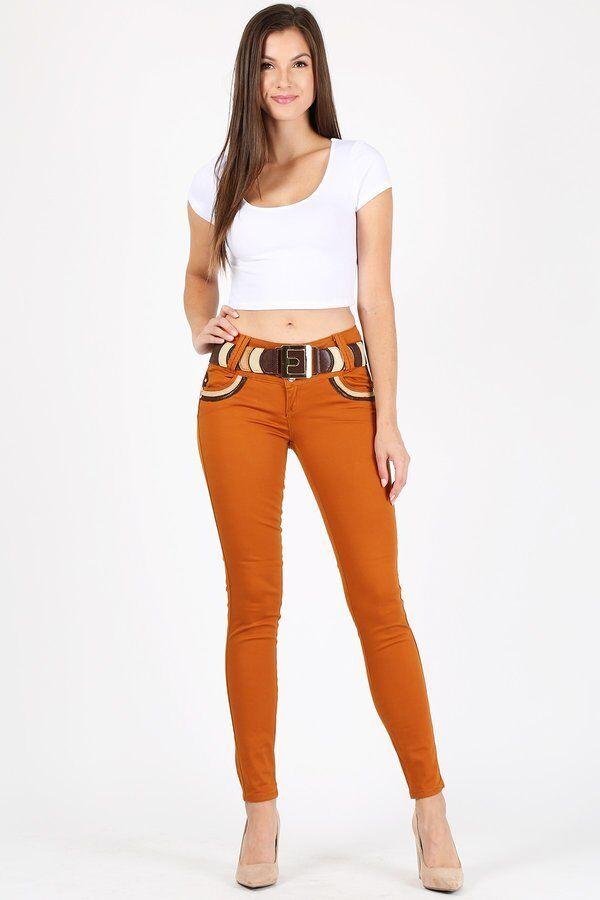 NWT Brown & Mustard Twill Denim Str. pants Leather contrast Junior & Plus size