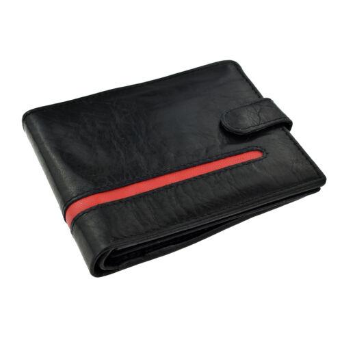 Portafoglio Pelle Nera con Design a Righe Rosso-XLW002