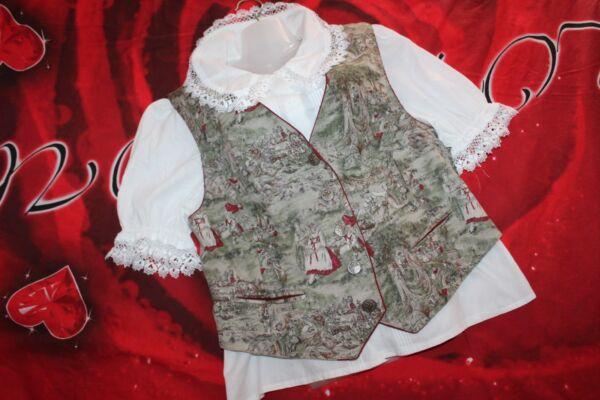Original Trachtenmode Set Trachtenweste & Bluse Gr. 44-46 Von Alhorn Und Chris B Excellent Effet De Coussin