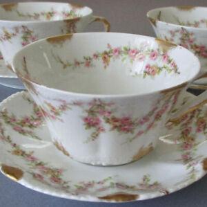 3 Antique HAVILAND Porcelain Cups + Saucers PINK ROSE Swags * Schleiger 145