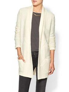 BCBG-MAXAZRIA-Women-Ginata-Shawl-Oversized-Sweater-Cardigan-Outwear-Coat-White