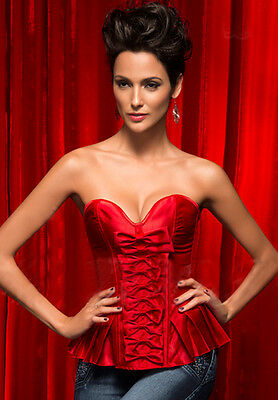 Satin Burlesque Red Satin Bows Womens Corset Bustier G-string L 12 New