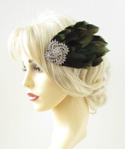 Green Black Silver Feather Headpiece 1920s Fascinator Hair Clip Vintage 30s 878