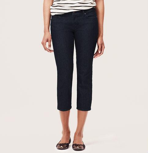 Ann Taylor LOFT Curvy Cropped Jeans Pants in Dark Rinse Wash Size 25 0 NWT