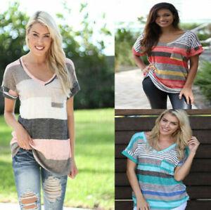 Womens-Short-Sleeve-T-Shirt-V-Neck-Casual-Shirts-Tops-Stripe-Tee-Blouse