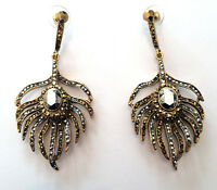 Butler & Wilson Gold Silver Crystal Peacock Feather Earrings