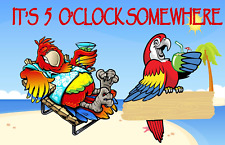 IT/'S 5 O/'CLOCK SOMEWHERE PARROT DRINKS BEACH PARTY HOUSE FLAG 28X40 BANNER